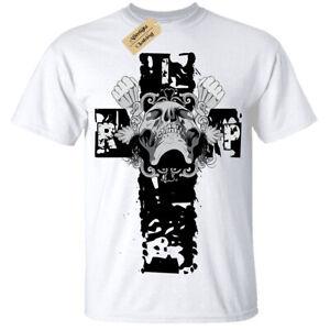 Rip-Teschio-Croce-Gotico-Punk-Motociclista-Rocker-T-Shirt-Maglietta-da-Uomo