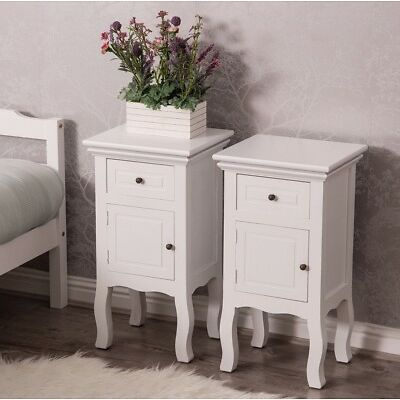 Pair White Bedroom Bedside Table Unit Cabinet Nightstand with 1 Drawer 1 Door