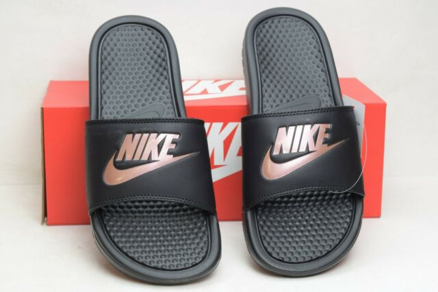Nike Benassi Just Do It Women's Sandals Slides  Black Rose Gold 343881 007 SZ 9