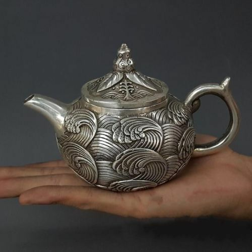 Marked Qianlong Exquisite Miao Silver Handwork Carved Sea Wave Flower teaPot
