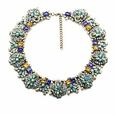 Luxury Flower Rhinestone Bib Statement Chunky Collar Chain Necklace Choker Gift