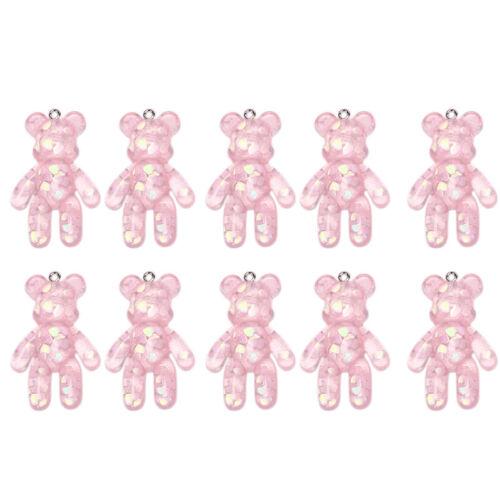 10Pcs//Set Resin Candy Bear Charms Pendants Jewelry Findings DIY Craft MakinNWUS