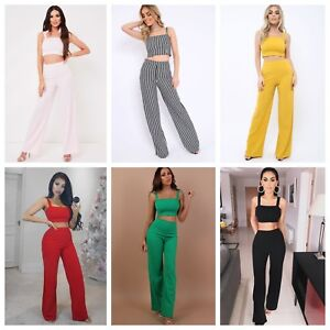 13a3b81895de Womens Ladies Crop Top and Stretch Wide Leg Trousers two Piece Co ...