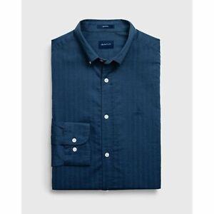 Gant-Camisa-Gant-Para-Hombre-Camisa-Azul-Atlantico-Herringbone-solido