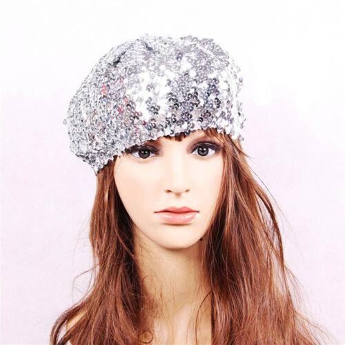 Fashion Women Sequin Beret Beanie Hat Cap Stretchy Glitter Dance Party Hat CB