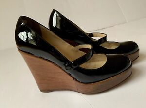 889283f529a Details about Authentic Christian Louboutin Black Patent Leather Cork  Wedges Heels Size 38