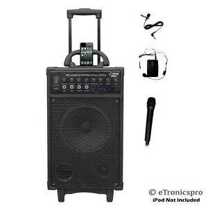 battery powered pyle 500w portable speaker pa system wireless mic microphone new ebay. Black Bedroom Furniture Sets. Home Design Ideas