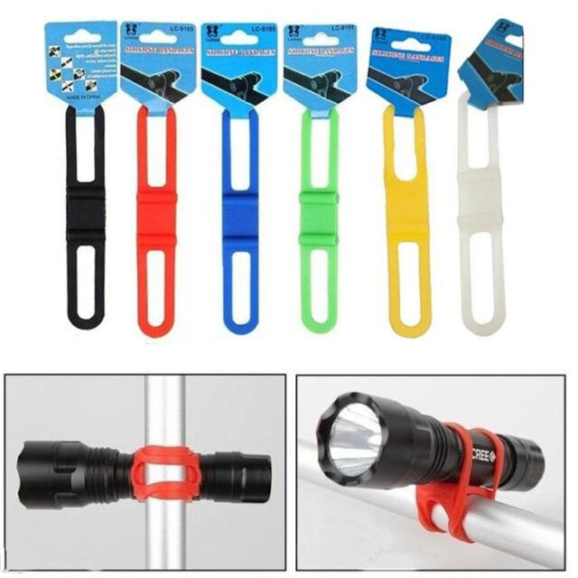 HOT 5Pcs Cycling Bicycle Flashlight Mount Holder Silicone Elastic Strap Bandage