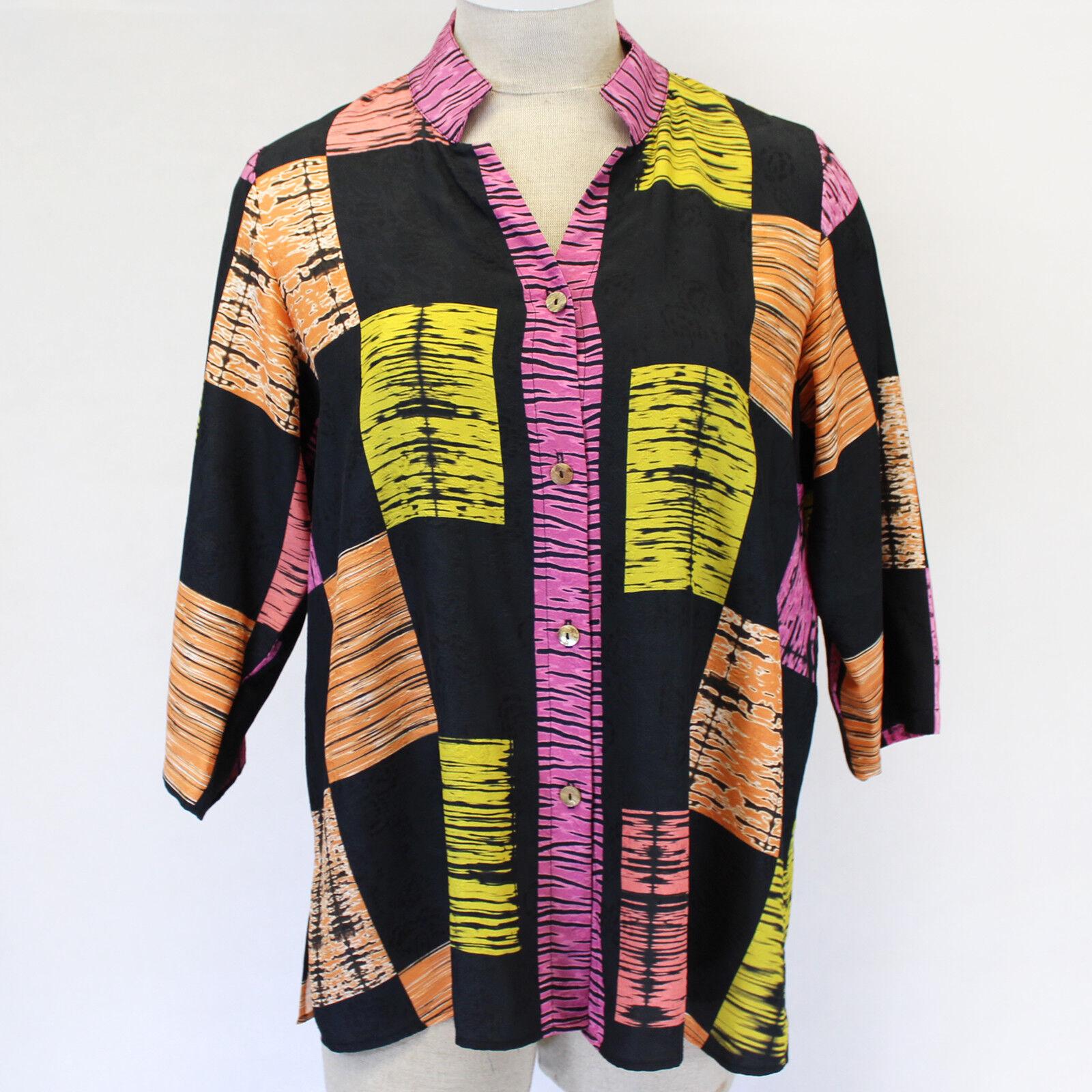 Citron Clothing Art to Wear Japanese Shibory Silk Blend Blouse Top Plus 3X
