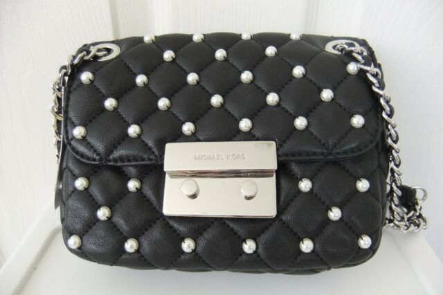 31b51b552778 Michael Kors Pearls Sloan Black Leather Small Chain Shoulder Bag for ...