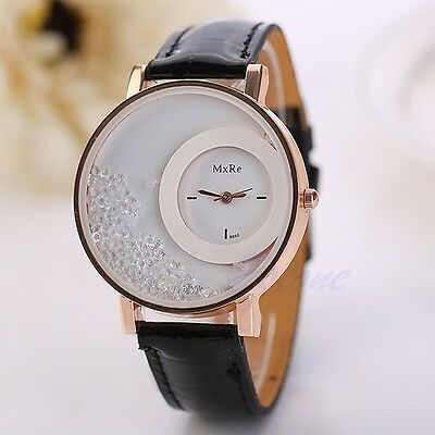 Fashion Women Quicksand Faux Leather Band Bracelet Round Dial Analog Wrist Watch