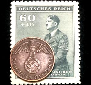 Rare-Old-WWII-German-One-Reichspfennig-Copper-amp-Stamp-Authentic-WW2-Artifacts