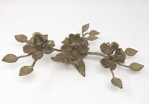 Vtg-Ornate-Floral-Leaves-Brass-Candleholder-Candlestick-Holder