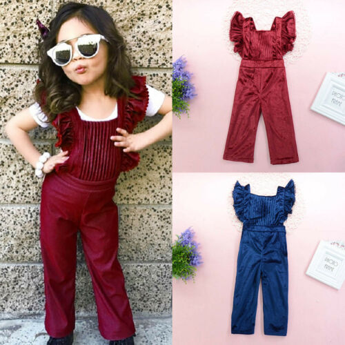 Toddler Kids Baby Girls Overalls Ruffle Jumpsuit Romper Long Pants Playsuit