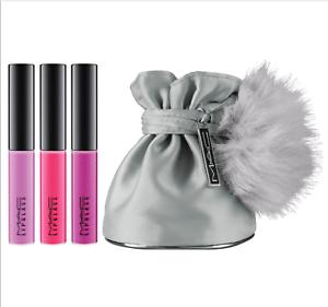 New-M-A-C-Mac-MINI-LIPGLASS-KIT-3-Little-Lip-Gloss-WITH-POM-POM-Bag