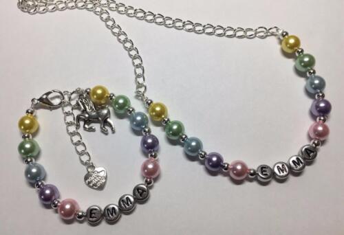 personalised gift Girls multi-coloured unicorn charm necklace and bracelet set