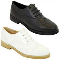 NEW WOMENS GIRLS FLAT BROGUES LACE UP GEEK PUMPS BLACK PATENT SHOES SIZE 3-8