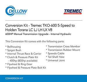 Tremec-TKO-600-5-Speed-To-Holden-Torana-LC-LJ-LH-LX-V8-Internal-Hydraulic