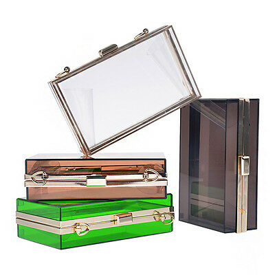 Women Transparent / Lace Acrylic Perspex Clutch Clear Purse Evening Bag Handbag