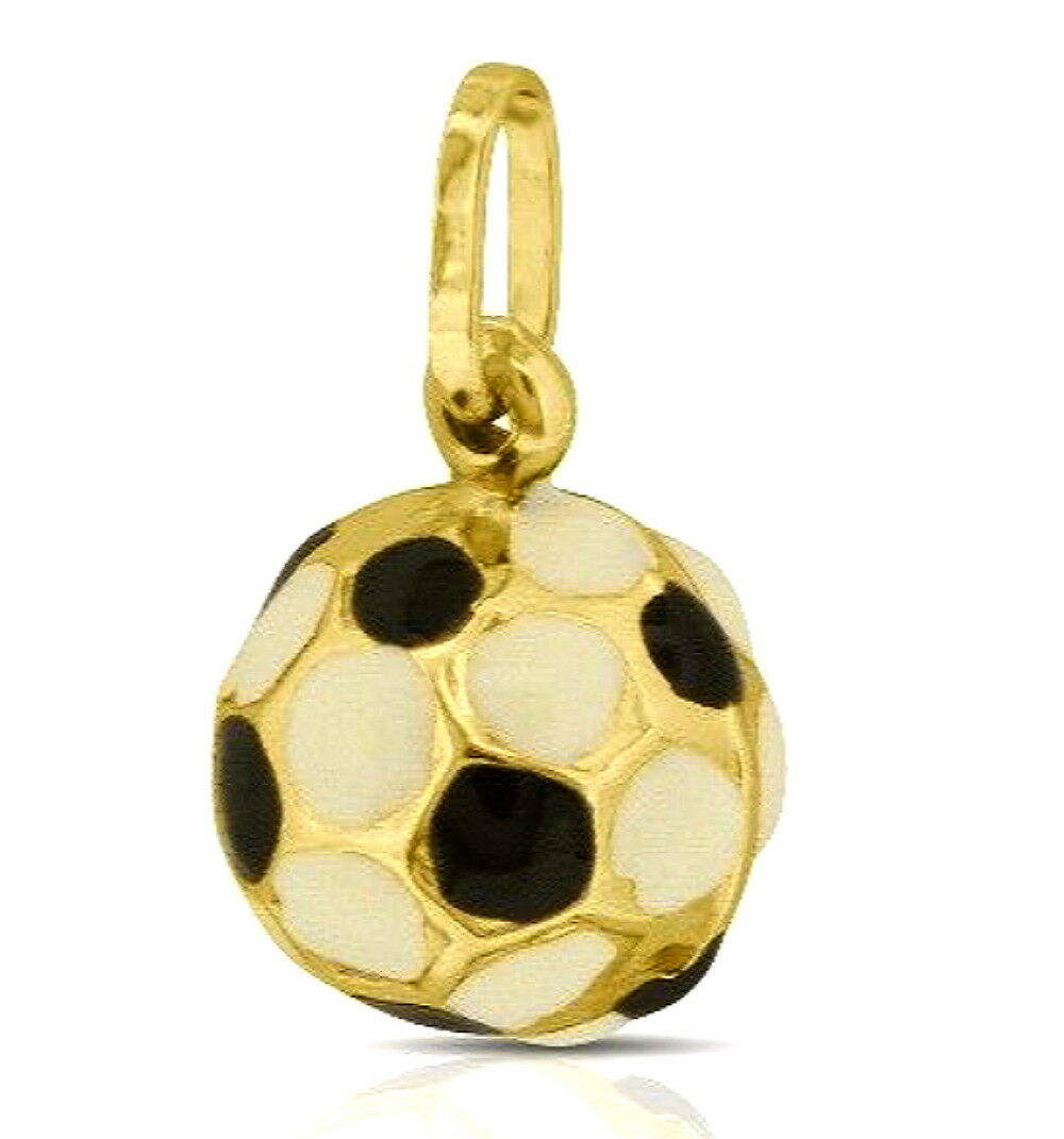 Brand New 14K Yellow gold Enamel 3D Soccer Charm