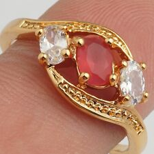 Feast Jewelry Clear Red Oval  Cubic Zircon Gold Plated Lady Girl Ring Size 7