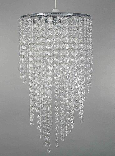 Nouveau Chrome Lustre Pendentif Nuance avec superbe acrylique clair bijou gouttelettes