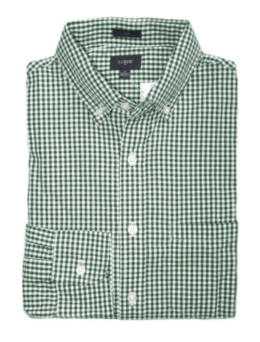 Slim Fit Men/'s S J.Crew Factory Green Micro-Gingham Washed Cotton Shirt