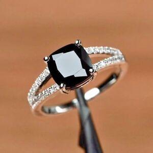 872ad6529c6891 2.45Ct Cushion-Cut Black Diamond Solitaire Engagement Ring 14K White ...