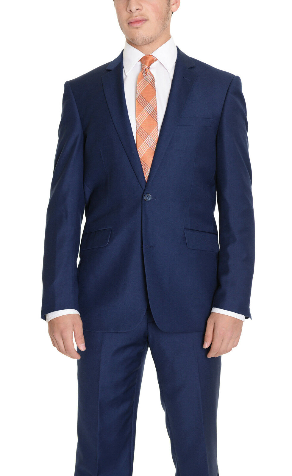 Raphael Regular Fit Solid bluee Two Button Suit