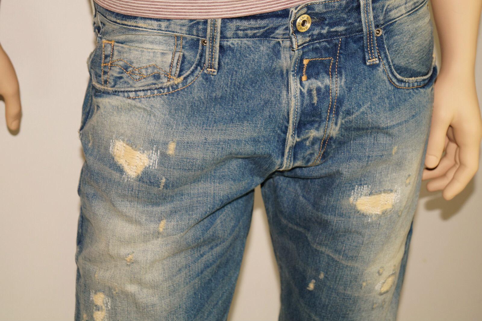 REPLAY Jennon w32 l34 effetto vissuto regular straight fit jeans uomo m99 32 34