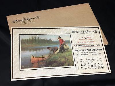 RARE original 1928 - 1929 HUDSON BAY COMPANY advertising CALENDAR FUR TRADE