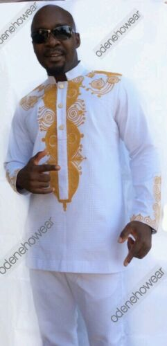 Odeneho Wear Men/'s White Polished Cotton Outfit.// Embroidery.African Clothing.