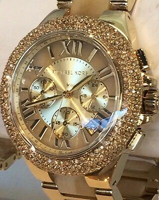 NWT MICHAEL KORS Camille Gold & Horn Crystal Glitz 43mm Chronograph Watch MK5902