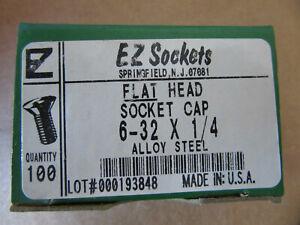 "100 EZ Sockets 6//32 X 3//4/"" Flat Head Socket Cap Screws NEW!! Free Shipping"