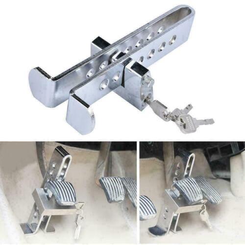 Car Stainless Brake Clutch Pedal Lock Steering Wheel Lock Security Anti-Theft UK
