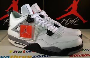 wholesale dealer fb840 743c8 Image is loading Nike-Air-Jordan-4-Retro-WHITE-CEMENT-GREY-