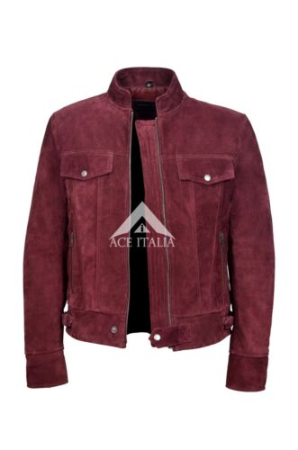 Men/'s Leather Suede Cherry Jacket Classic TRUCKER 100/% REAL NAPA JACKET 1345