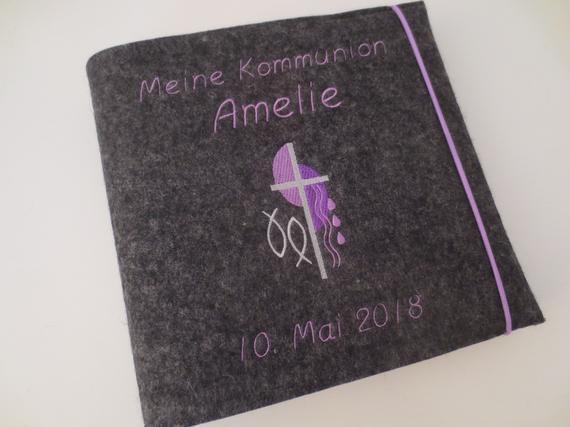 Fotoalbum Kommunion Konfirmation ca. 24,5 x 25cm Wollfilz Name Album Fische   Online    Sale Online    Merkwürdige Form