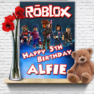 Image Is Loading EXTRA LARGE Roblox Personalised A4 Birthday Card Son
