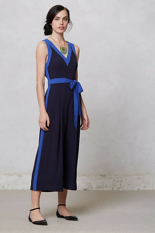 Anthropologie Becas Jumpsuit By Elevenses Cut Out Wide Leg  Size Sz 10 RSP  148