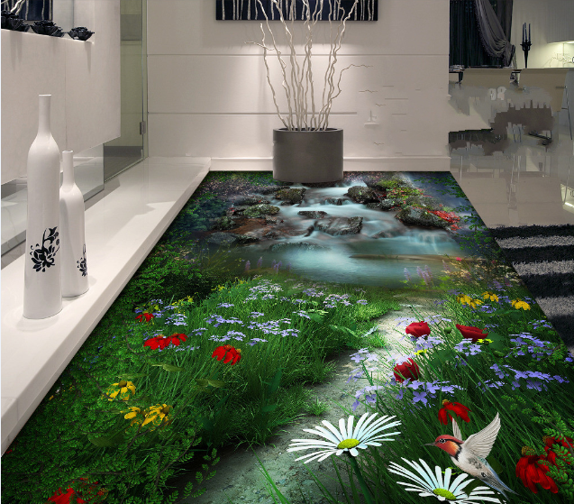 3D Flowers Stone Creek 7 Floor WallPaper Murals Wall Print Decal AJ WALLPAPER US