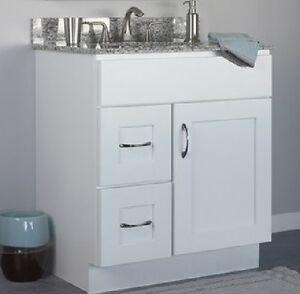 Jsi dover bathroom vanity cabinet white 30 1 door 2 left - 30 inch white bathroom vanity with drawers ...