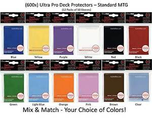 x600-ULTRA-PRO-Card-Sleeves-DECK-PROTECTORS-12-Packs-Mix-Match-Black-Red-MTG