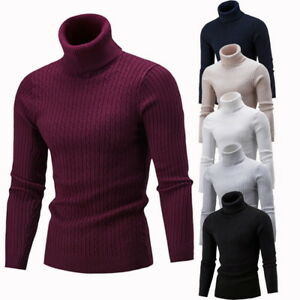Men-Turtleneck-Warm-Sweater-Slim-Fit-Hedging-Knitted-Long-Sleeve-Pullover-Top-LO