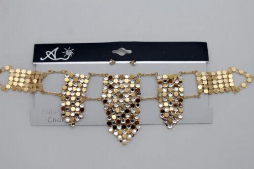 Earrings Women Gold Mesh Metal Fashion Edgy Choker Necklace Silver Rhinestones