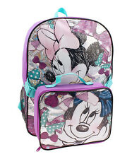 Minnie Mouse Backpack & Lunch Box Set NWT Girls Disney Purple