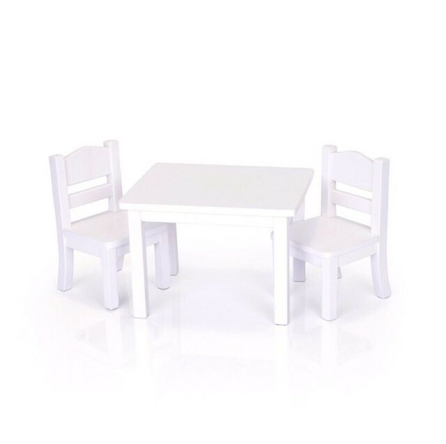Incredible Doll Table And Chair Set American Girl Dolls 18 Furniture White Wooden Toy Machost Co Dining Chair Design Ideas Machostcouk