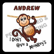 PERSONALISED FUNNY IDIOM I DON'T GIVE A MONKEY'S COASTER GIFT BIRTHDAY PRESENT