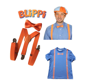 Tops Blue Tees //Tie Bow Trousers Strap TV Blippi Kids T-Shirt//Braces Cosplay