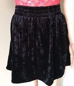696193e566 Joe Fresh Womens Crushed Velvet Mini Skirt Black Skater Swing Flare ...
